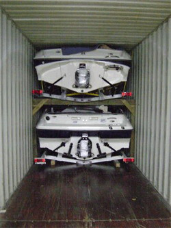 Securing boat in container